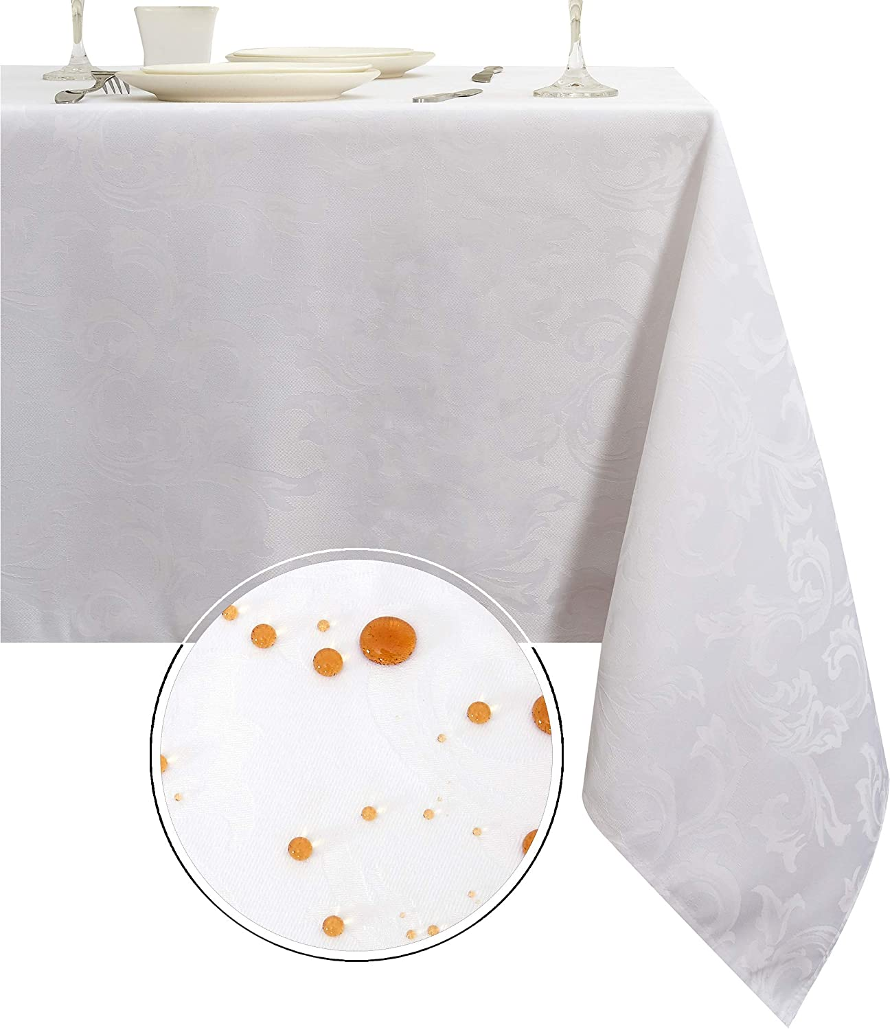 Obstal 210GSM Rectangle Table Cloth, Water Resistance Microfiber Tablecloth, Decorative Fabric Table Cover for Outdoor and Indoor Use (White,60 x 102 Inch)