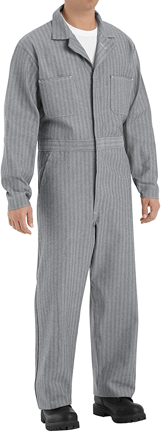 Red Kap Men's Button Front Cotton Coverall, Fisher Herringbone, 52