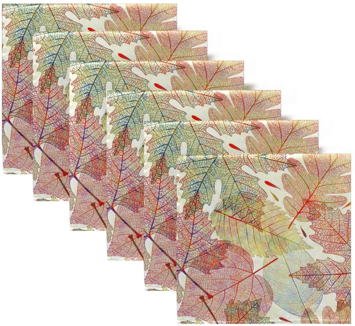 ALAZA Fall Leaves Cloth Napkins Dinner Napkins Set of 6,Reusable Table Napkins Washable Polyester Fabric for Cocktail Party Holiday Wedding Home Decorative