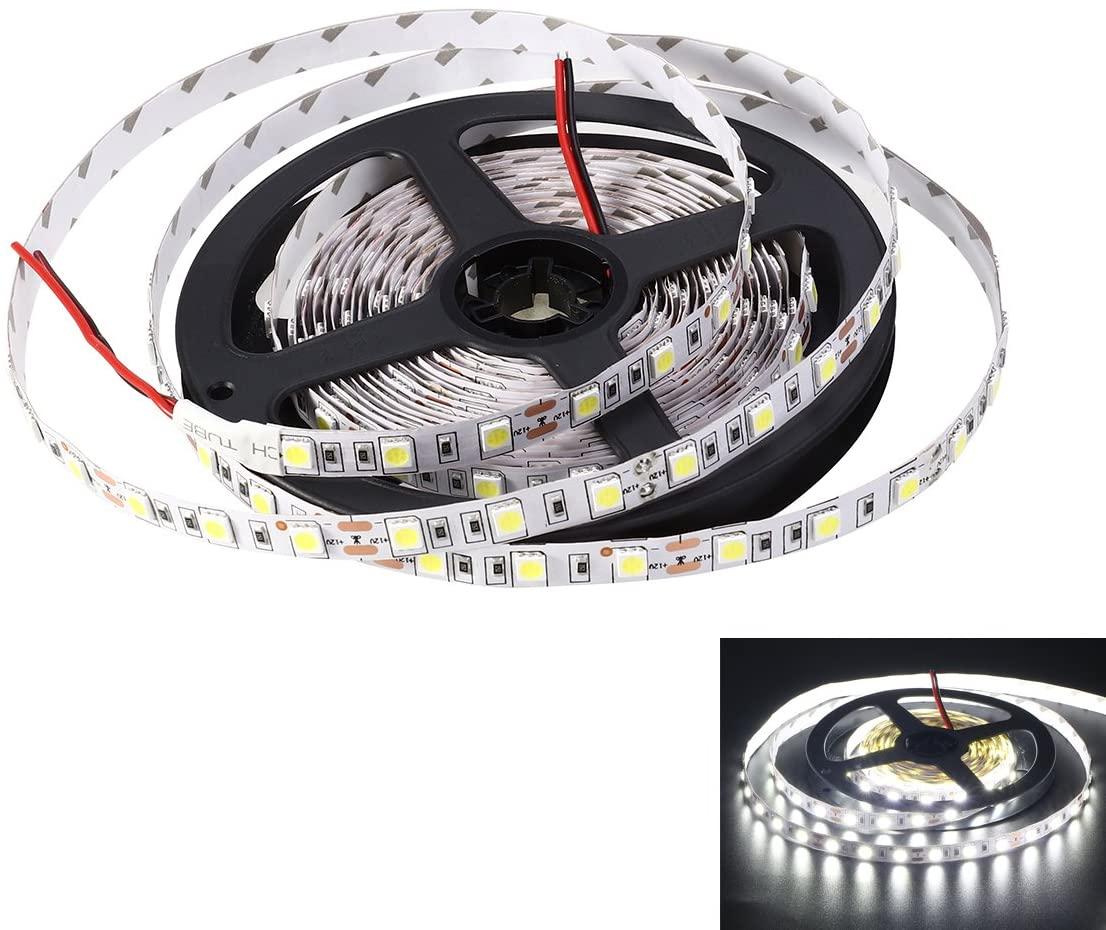 LEDMOMO 5M (16.4ft) Non-Waterproof Flexible DC 24V 300 SMD 5050 LED Strip Lights Lamp Outdoor Indoor(Pure White)