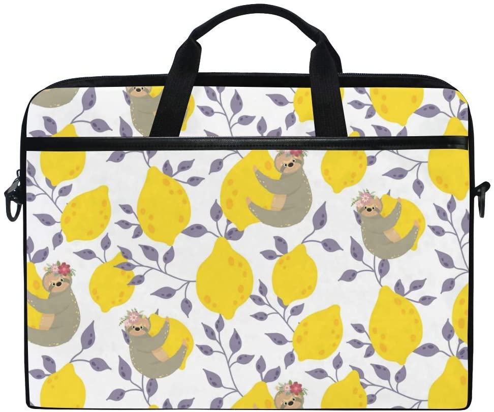 ALAZA Cute Sloths On The Yellow Lemons Laptop Case Bag Sleeve Portable Crossbody Messenger Briefcase Convertible w/Strap Pocket for MacBook Air Pro Surface Dell ASUS hp Lenovo 14-15.4 inch