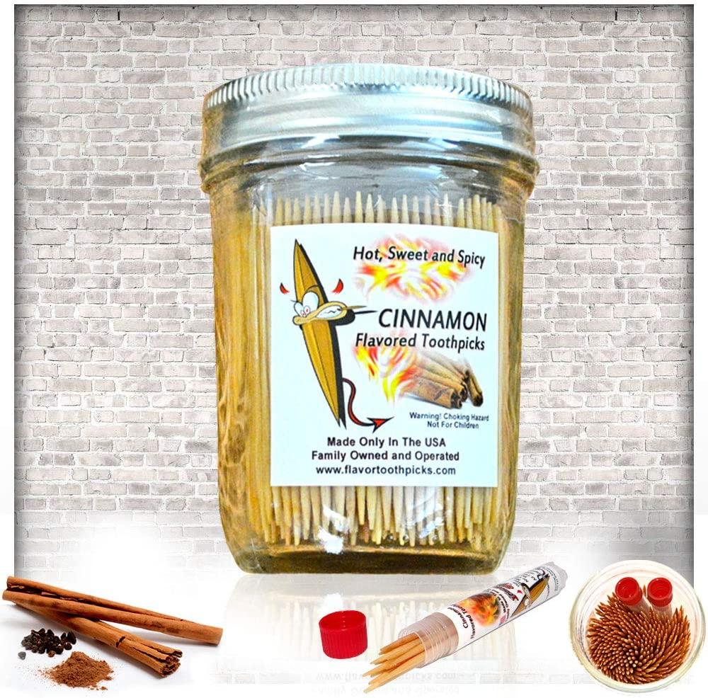 Cinnamon Flavored Wood Toothpicks in Glass Jar 400 Qty-FBA