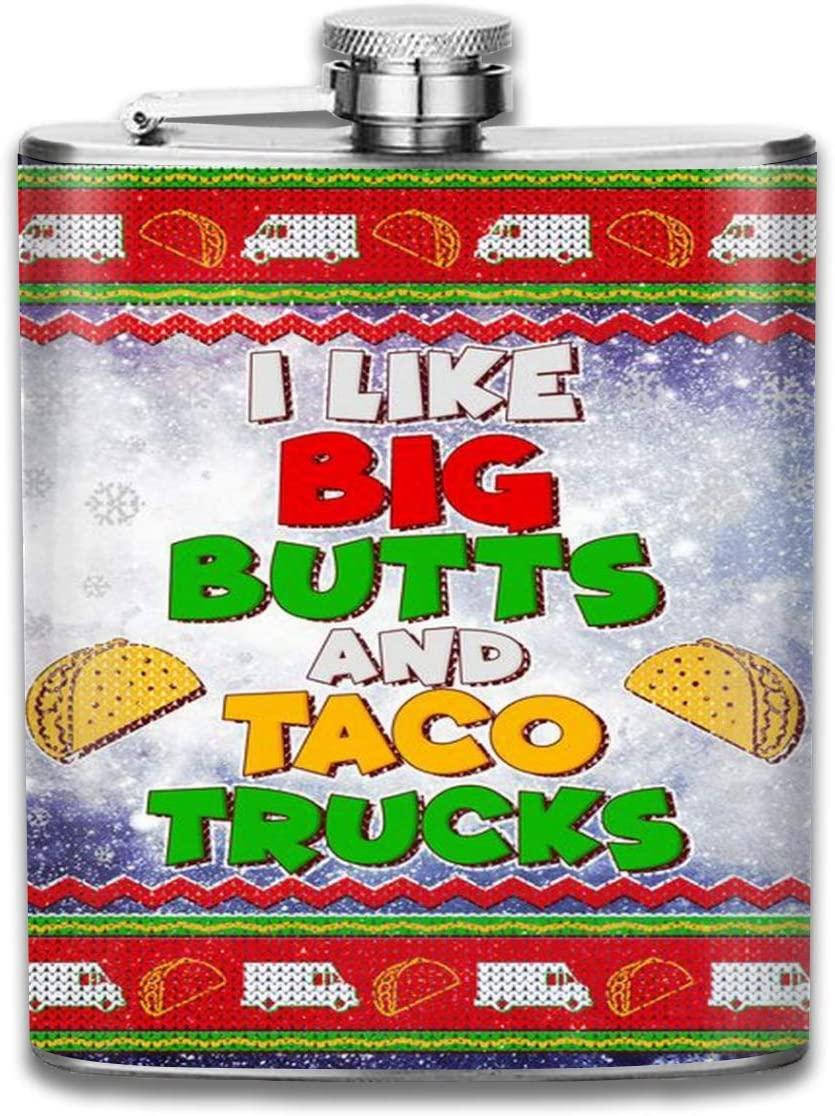 2 Pcs Hip Flask for Liquor U-Shaped Funny I Like Big Butts and Tacos Trucks Ugly Christmas Flagon 304 Stainless Steel Leak-Proof Alcohol Whiskey Liquor Wine 7OZ Pot Hip