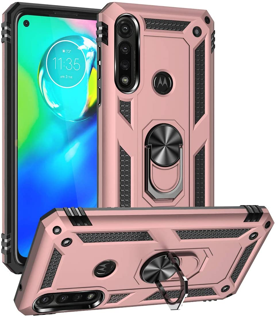 Newseego Compatible with Moto G Power Case Armor Dual Layer 2 in 1 and 360 Degree Rotating Metal Ring Holder Kickstand & Shock & Scratch Support Shockproof Anti-Drop Hard Cover-Rose Gold