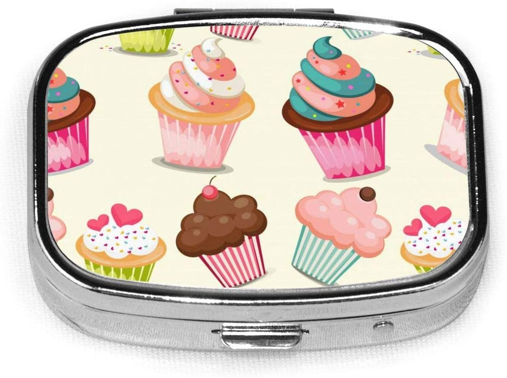 Daily Pill Organizer Cartoon Colorful Cupcake Square Medicine Box Case Compact 2 Compartment Vitamins Tablet Holder Container Metal Portable for Daily Needs Travel Purse Pocket