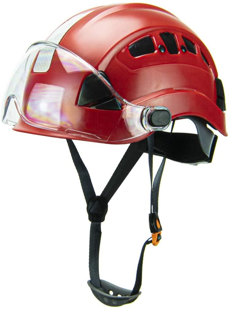 Defender Safety H1-CH Safety Helmet Hard Hat with Visor for Industrial & Construction ANSI Z89.1 (Red w/Visor)
