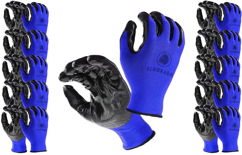 Eldorado Work Gloves for Men, Nitrile Coated With Grip. Multipurpose Gloves for Gardening, Farm, Mechanic, Construction, Warehouse. Colors: Blue & Black (24, Medium)