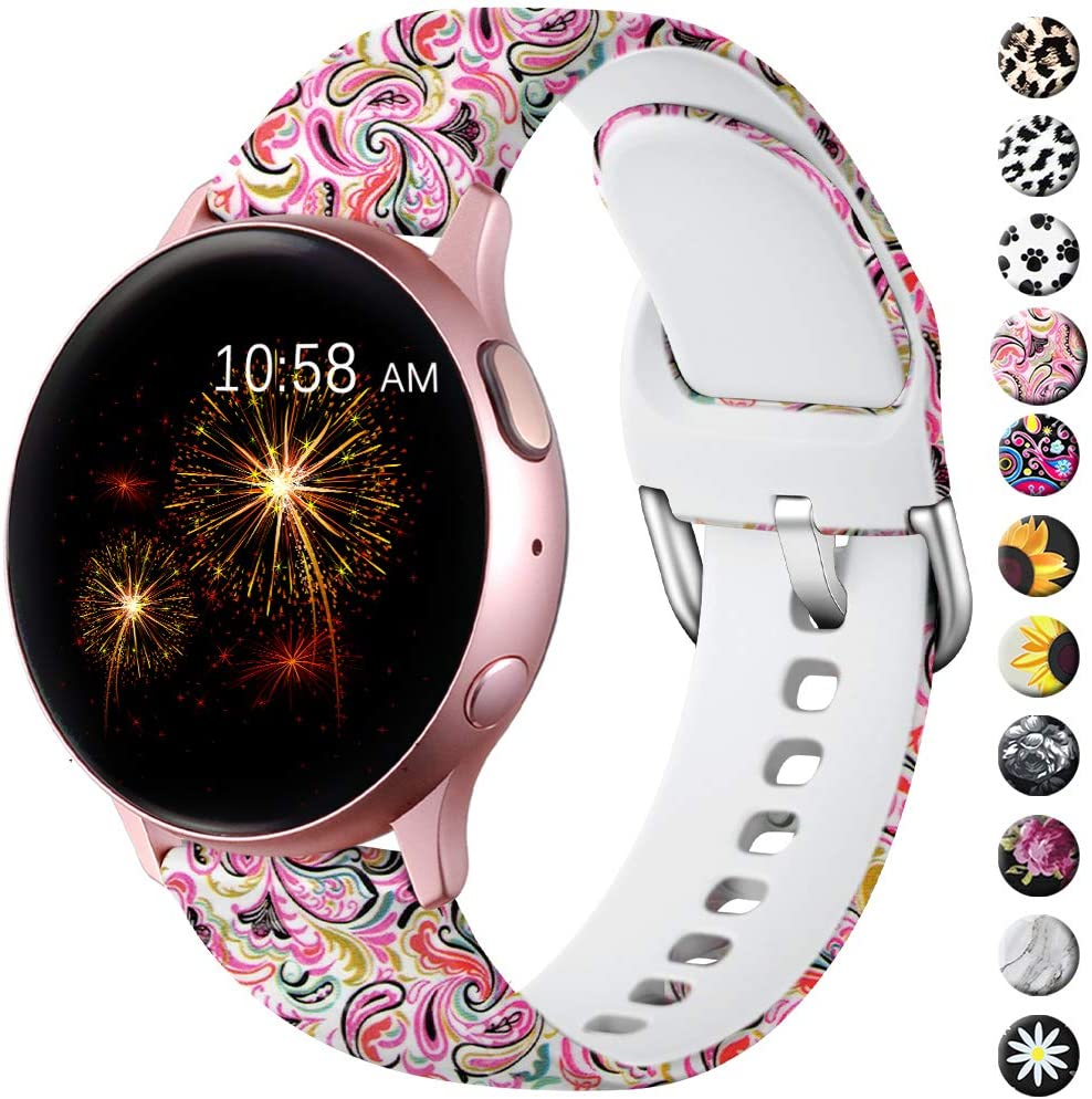 LEOMARON for Samsung Galaxy Watch Active/Active 2 Bands 40mm 44mm/Galaxy Watch 42mm, 20mm Pattern Printed Fadeless Replacement Wristband for Galaxy Gear S2 Classic/Gear Sport Women Paisley Pattern