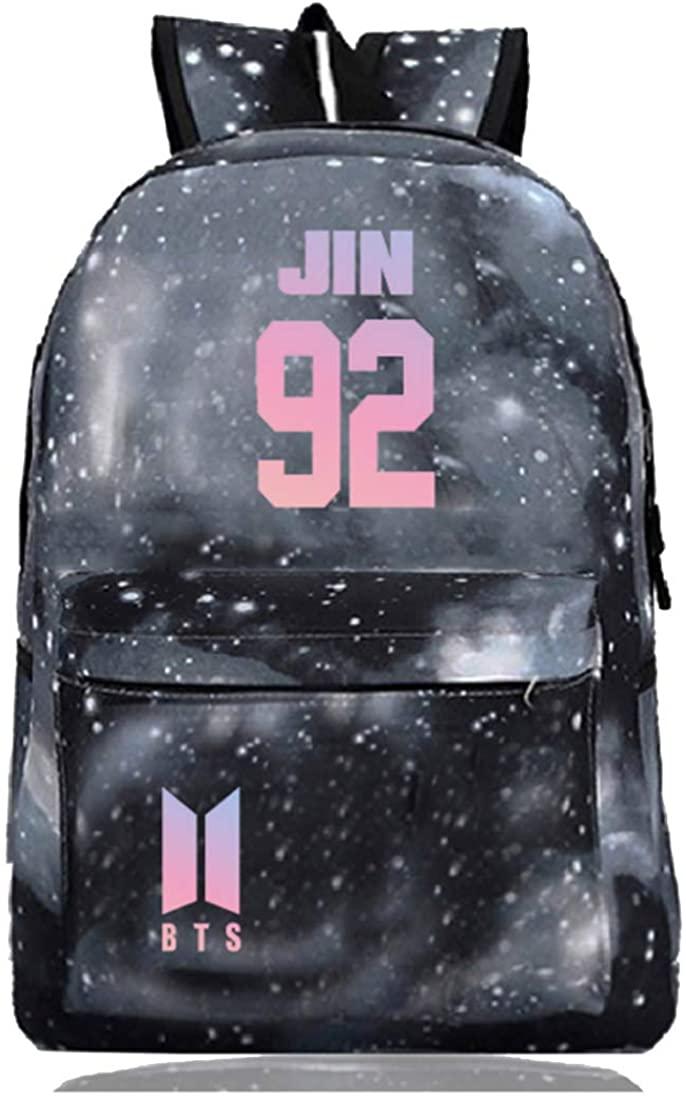 Women BTS Backpacks BTS JIN SUGA Laptop Bag Bookbag Canvas Backpack for School Travel Outdoor