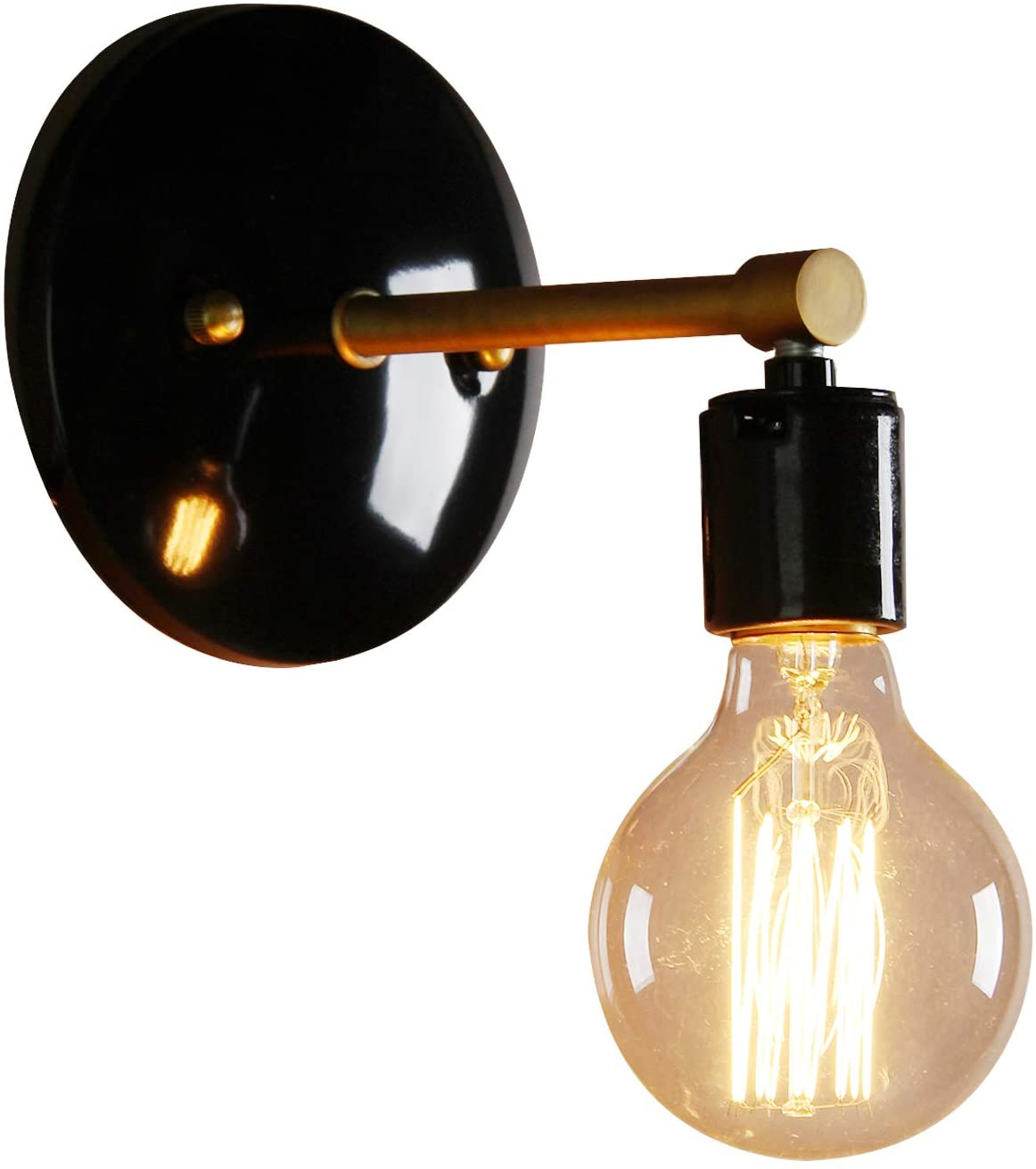 PERMO Industrial Scandinavian Mini Single Sconce Antique Finished 1-Light Wall Sconce Wall Lamp (Black)
