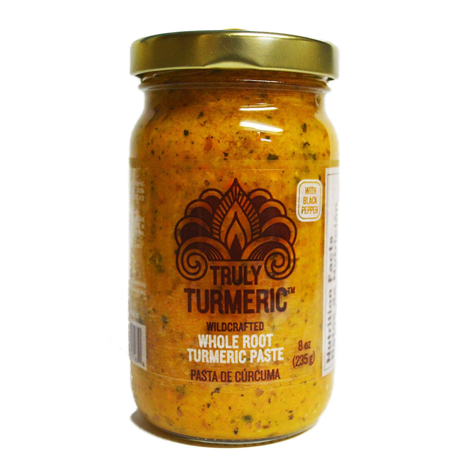 Truly Turmeric - Fresh Wildcrafted Whole Root Turmeric Paste | Turmeric Spice for Cooking and Golden Milk - 8oz (235g) - Black Pepper