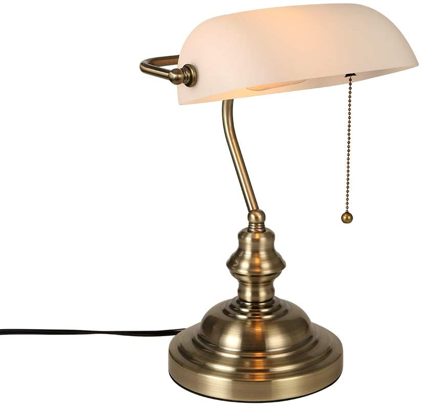 Newrays White Matted Glass Bankers Desk Lamp with Pull Chain Switch Plug in Fixture,Satin Brass Finish