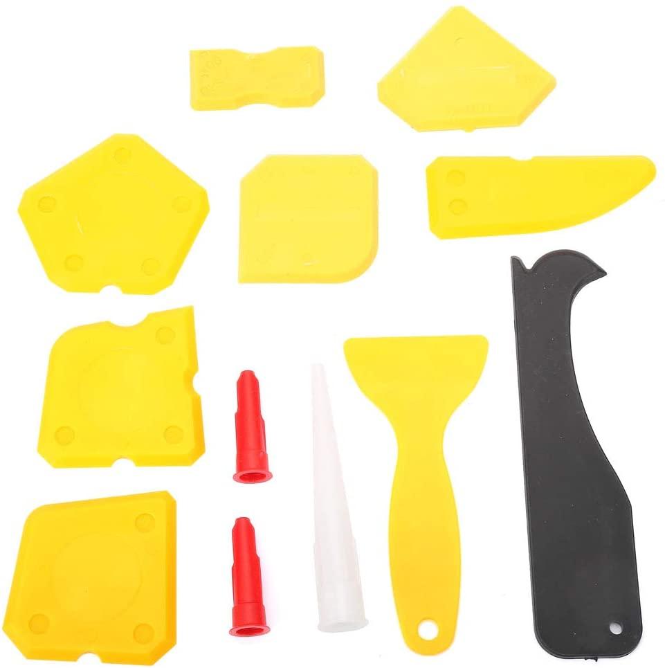 NITRIP 12PCS Caulk Tools Kit Silicone Sealant Remover Shovel Glass Cement Caulking Scraper(Yellow)
