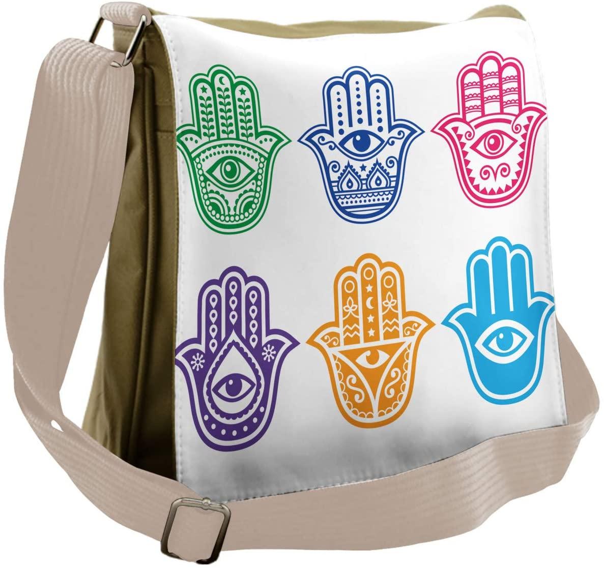 Lunarable Hamsa Messenger Bag, Evil Eye Theme Hamsa Hand, Unisex Cross-body