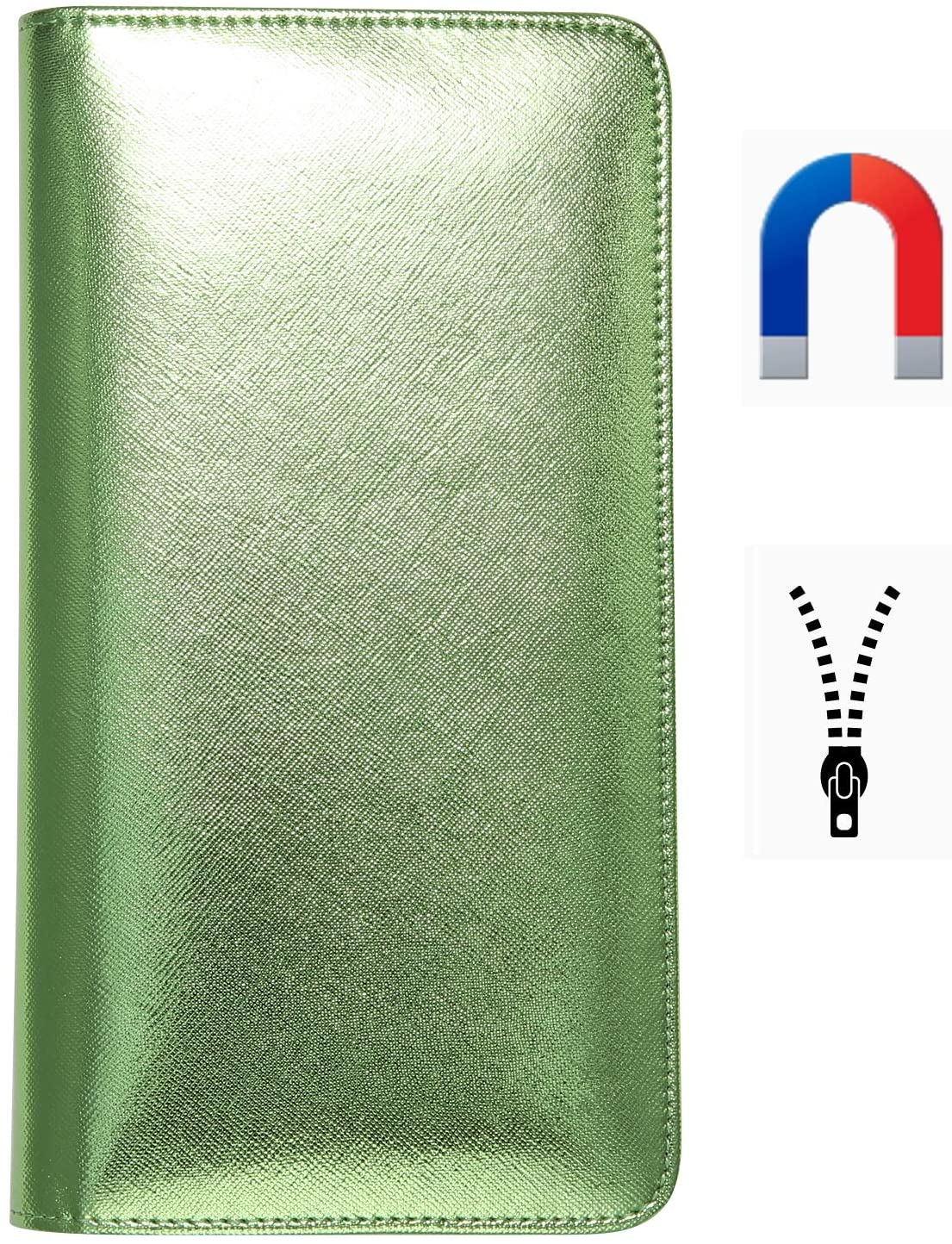 Server Book for Waitress Book with Magnetic Closure Server Wallet with Money Pocket and Zipper Pouch Restaurant Waitstaff Organizer, Guest Check Book Holder Fit Server Apron Big Volume Green
