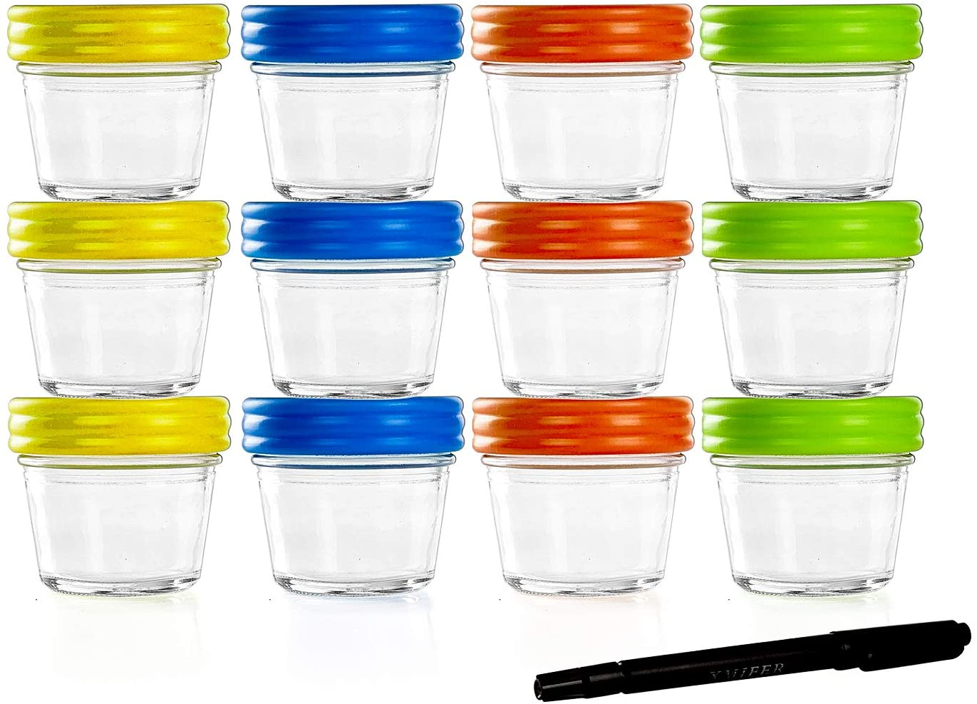 Baby Food Storage Containers Glass Jars with Leakproof & Airtight Lids-BPA Free-Freezer & Dishwasher Safe-4oz-Pack of 12