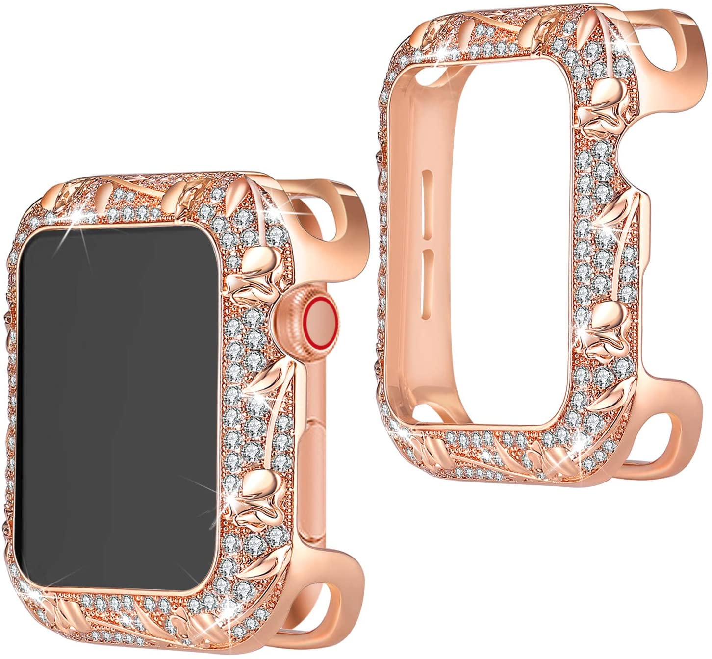 TOMAZON Bling Case Compatible for Apple Watch Case 40mm Series 4 Series 5, Stainless Metal Shiny Jewelry Crystal Diamond Protector Cover with Floral Print Bumper for iWatch 40mm Women Girl, Rose Gold