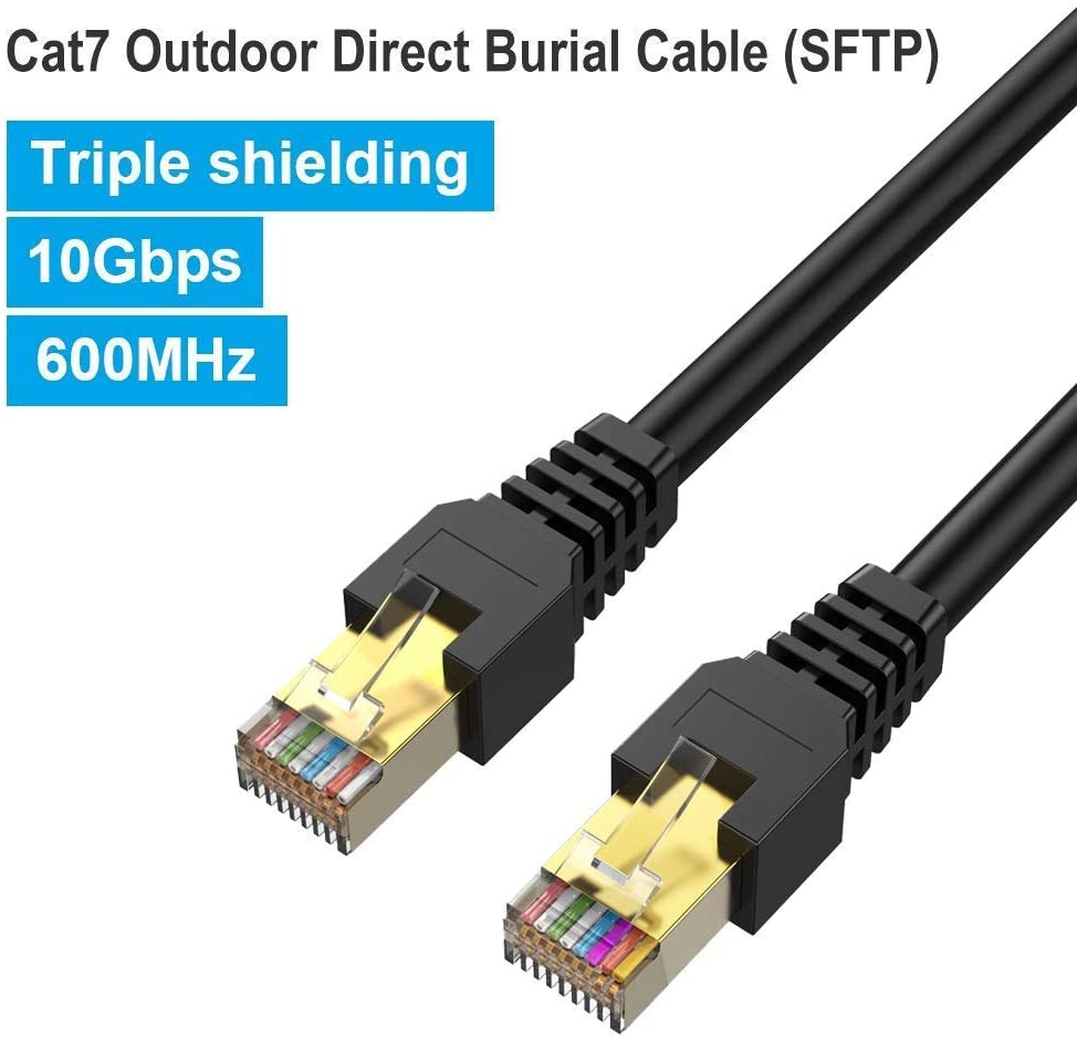 Cat7 Ethernet Cable 150ft,PHIZLI Outdoor Shielded Grounded UV Resistant Waterproof Buried-able Network Cord 10 Gigabit 600MHz (SFTP) with OFC Cat5e/5/6 RJ45 LAN for Router, Gaming, Xbox, Modem