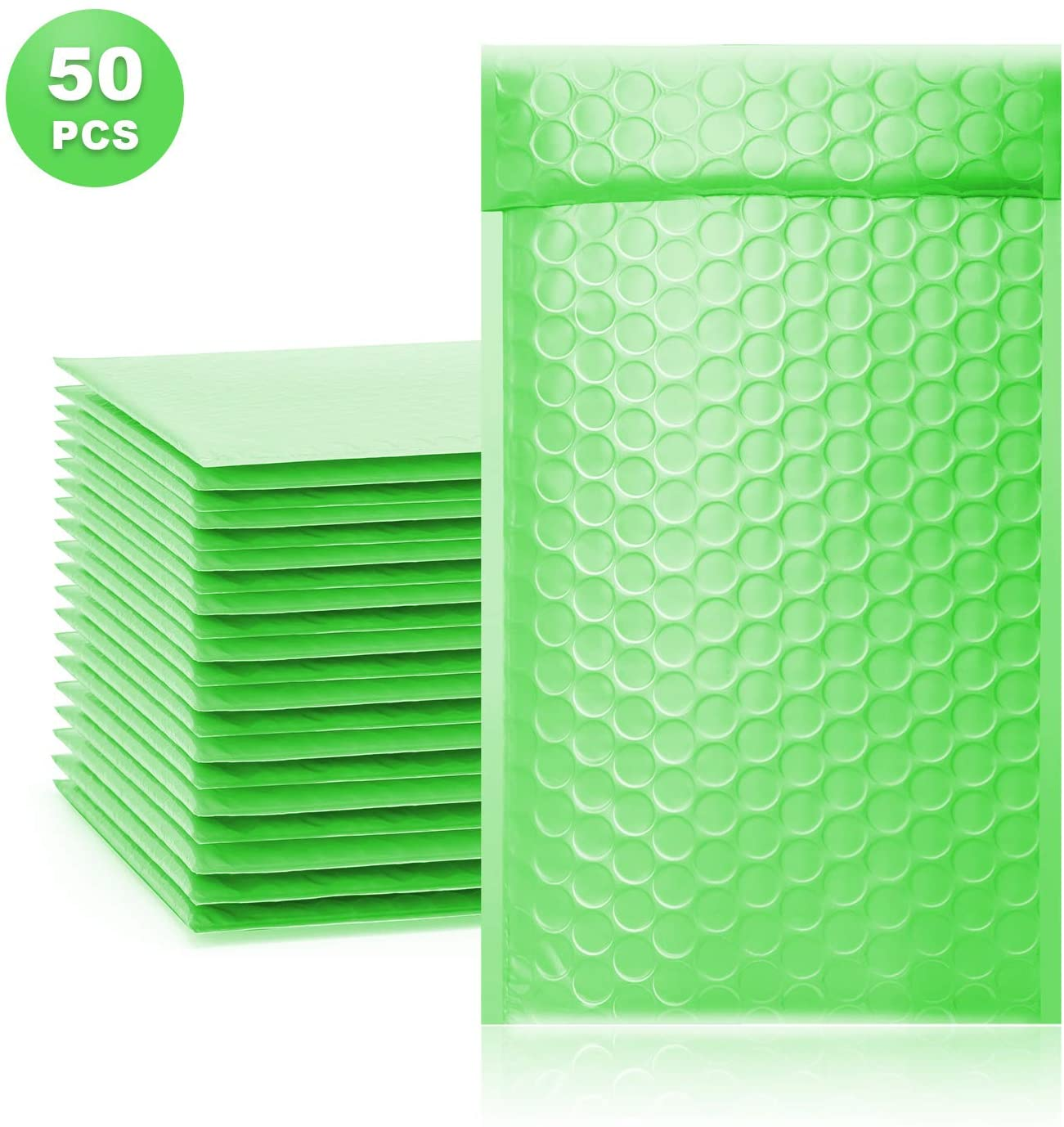 ToneSpac Poly Bubble Mailers Padded Envelopes Shipping Bags with Waterproof and Self Seal Stripe Pack of 50 (green, 000 4x8 inch)