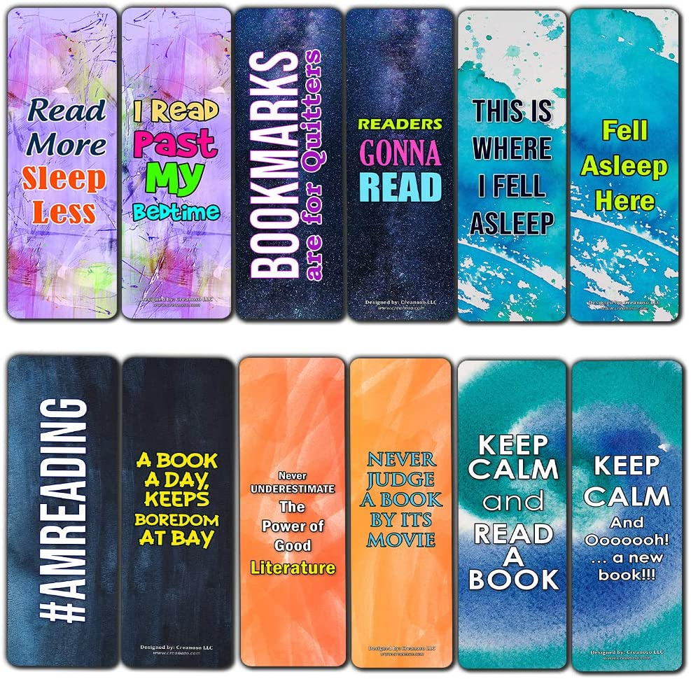 Creanoso Readers Bookmarks Cards (30-Pack) – Stocking Stuffers Gift for Men, Women, Adult, Teens - Party Favors Supplies – Rewards Gifts – Awesome Bookmark Collection for Readers