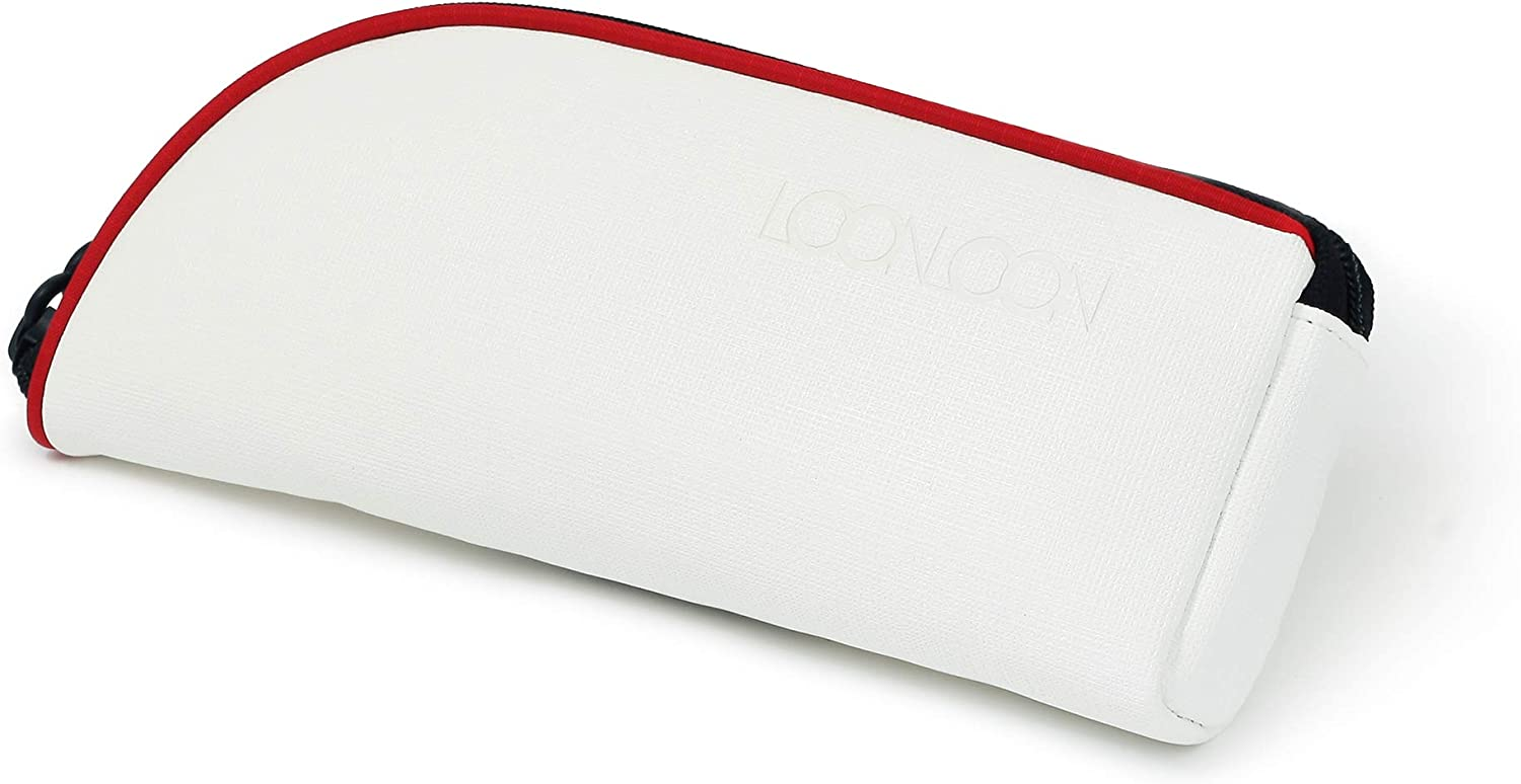 LOONLOON 560 Rainy Pencil Case (White) 3-Pocket Small Pencil Case with Divider Panel - Pen Pencil Case Simple Stationery Middle High School College Student Office