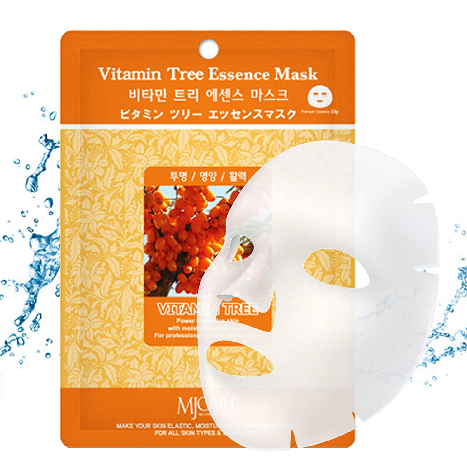 The Elixir Beauty MJ Korean Cosmetic Vitamin Tree Premium Essence Mask Pack Sheet (23g, 10 Packs)