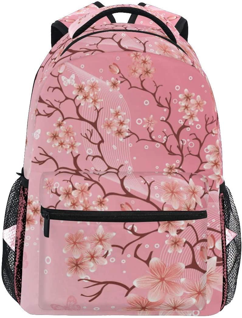 Japanese Cherry Blossom Pink Backpacks Travel Laptop Daypack School Bags for Teens Girls Women