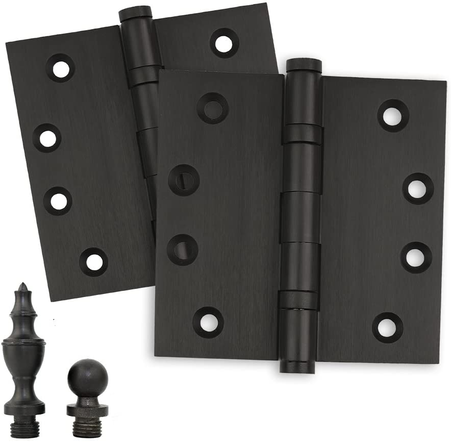 Door Hinges 4 x 4 Extruded Solid Brass Ball Bearing Oil Rubbed Bronze Architectural Grade Tips Included (2 Pack, Ball & Urn Tips)