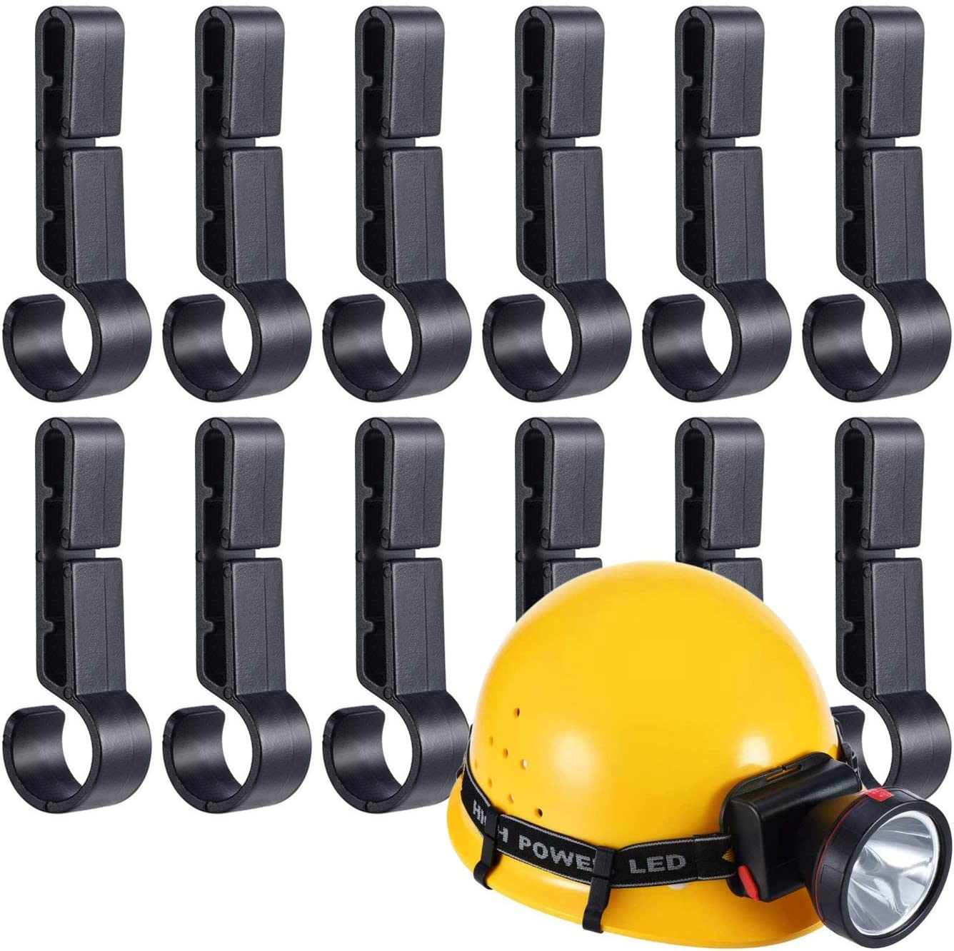 AnFun 12 Pieces Helmet Headlamp Hooks Hardhat Clips for Various Helmets,Safety Cap,Hardhat