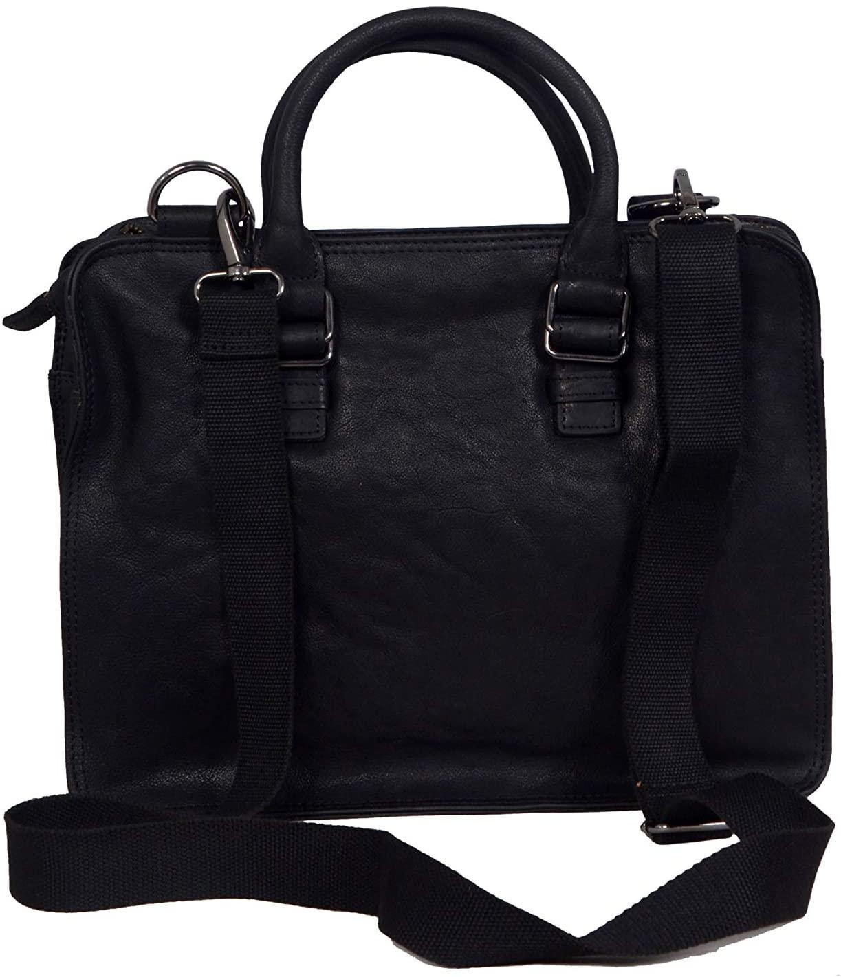 ZINT Men's Genuine Leather Briefcase Laptop Bag/Messenger Bag/Portfolio Bag (Black)