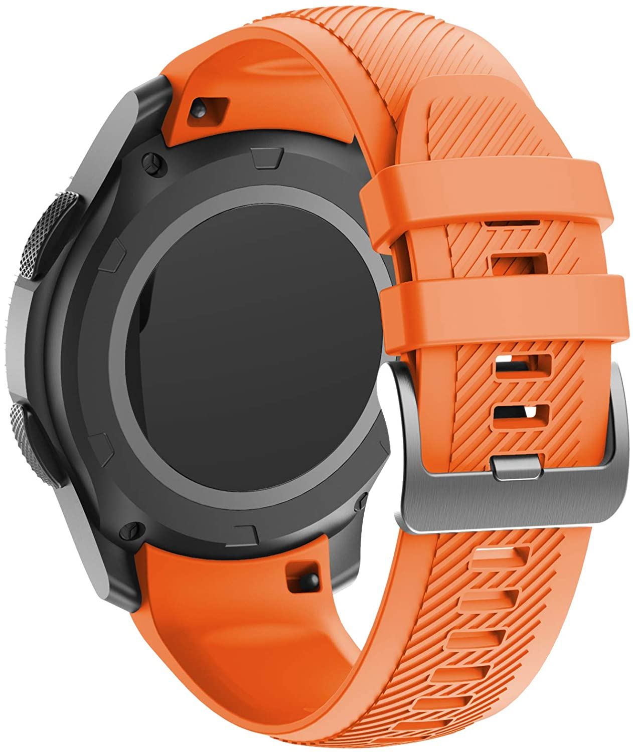 ANCOOL Compatible with Gear S3 Bands Soft Silicone Straps Seamless Connection Watch Bands Replacement for Gear S3 Frontier/Classic/Galaxy Watch 46mm Smartwatches, Orange