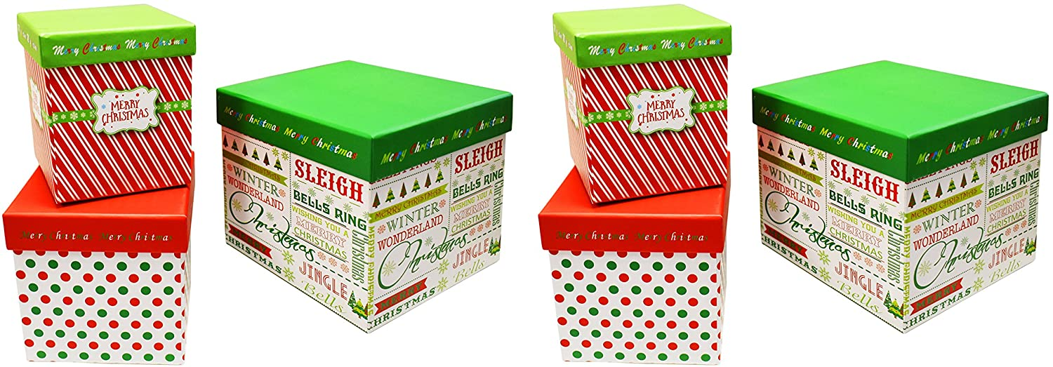 ALEF Set of 6 Elegant Decorative Holiday Themed Nesting Gift Boxes -3 Boxes- Nesting Boxes Beautifully Themed and Decorated! (Contemporary, 2)