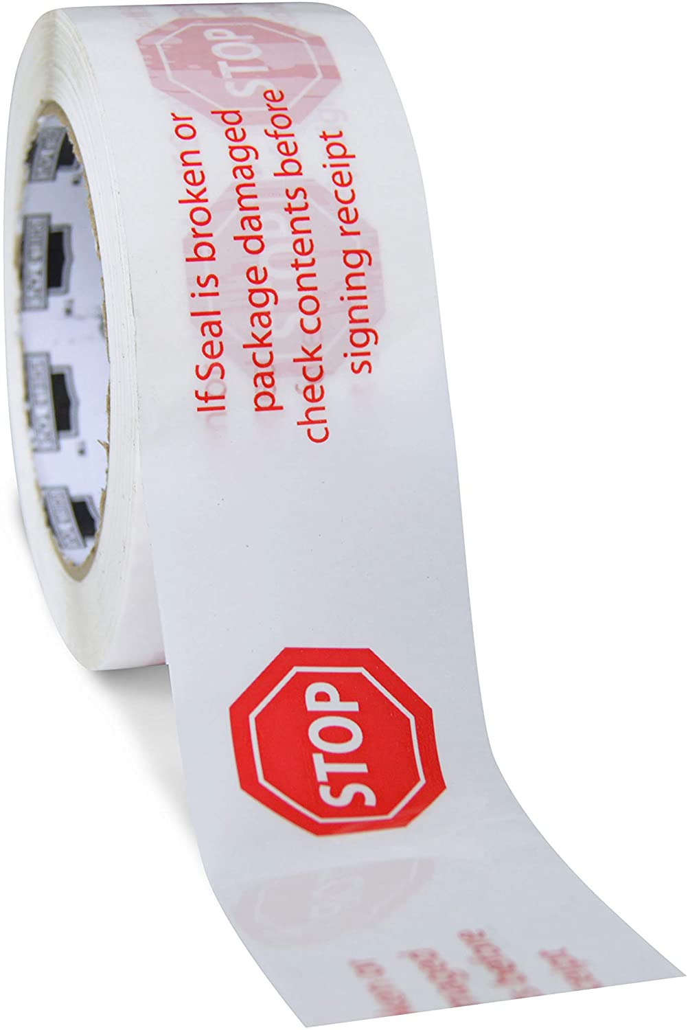 Stop Sign Packing Tape, Preprinted Shipping Tape Rolls, White Red, 3 Inch x 110 Yards, Pack of 12 Rolls