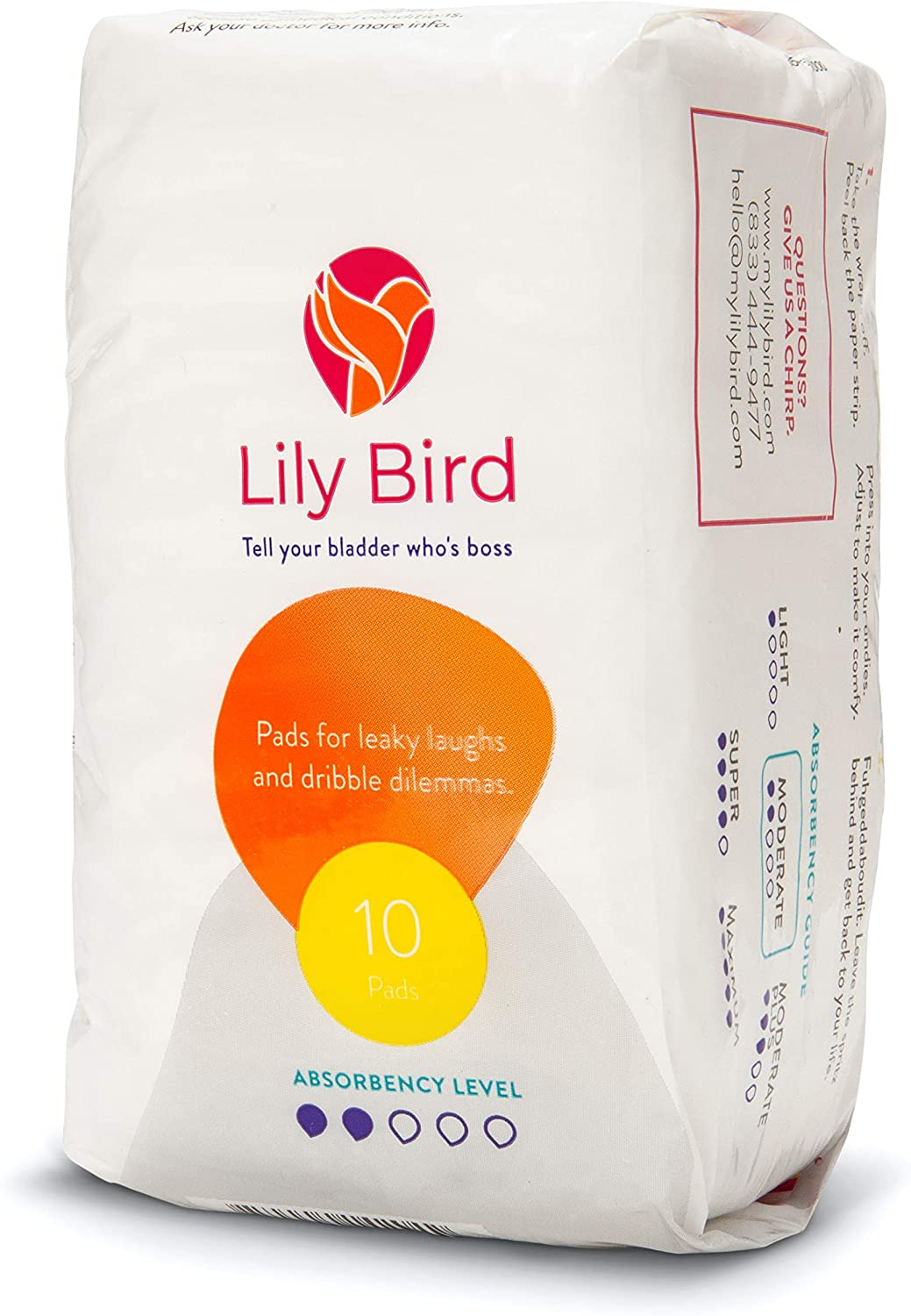 Lily Bird Incontinence Pads for Women, 30 Count (3 Packs of 10) (Moderate)