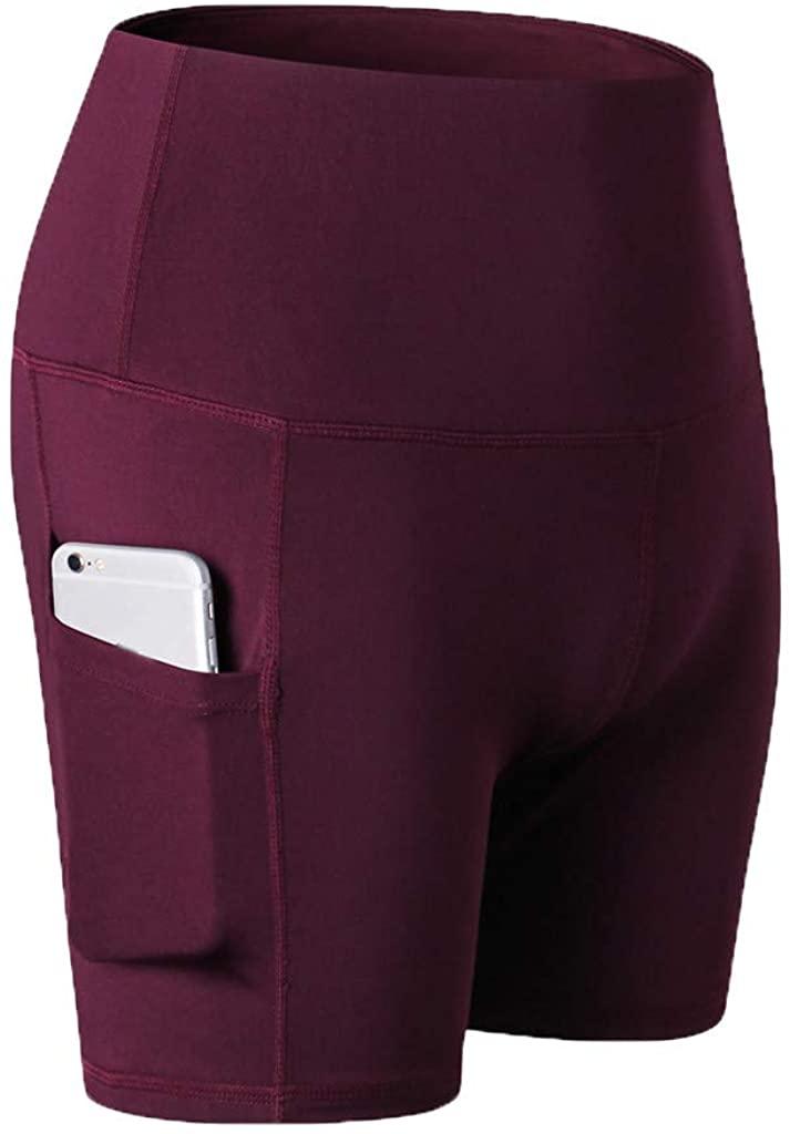 Women's Yoga Short Tummy Control Workout Running Athletic Yoga Shorts with Pocket