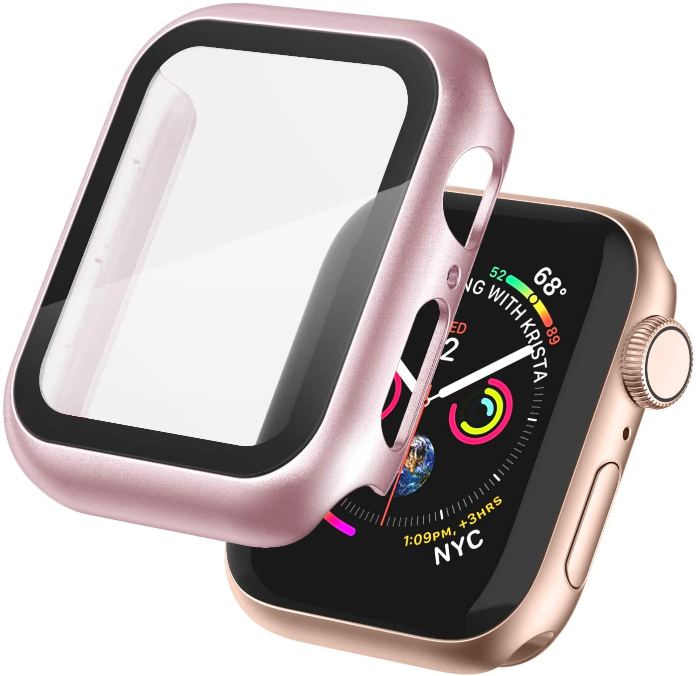 Recoppa Case Compatible with Apple Watch Bumper 40mm/44mm with Tempered Glass Screen Protector High Sensitive Touching Built-in Protective Case Cover for Apple Watch Series 5/4/3/2/1(Rose-Pink,42mm)