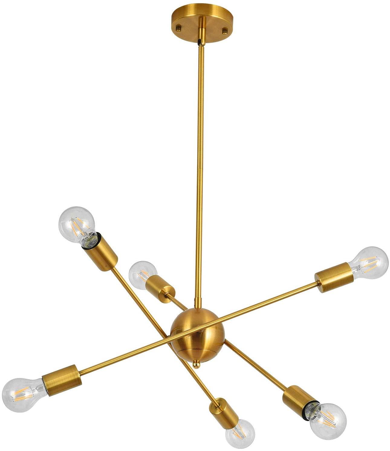 Kirahee Modern Sputnik Chandelier, 6 Lights Chandelier Pendant Lighting Mid Century Modern Industrial Starburst Style Ceiling Lamp Light Fixture for Flat and Sloped Ceiling Brass Finish