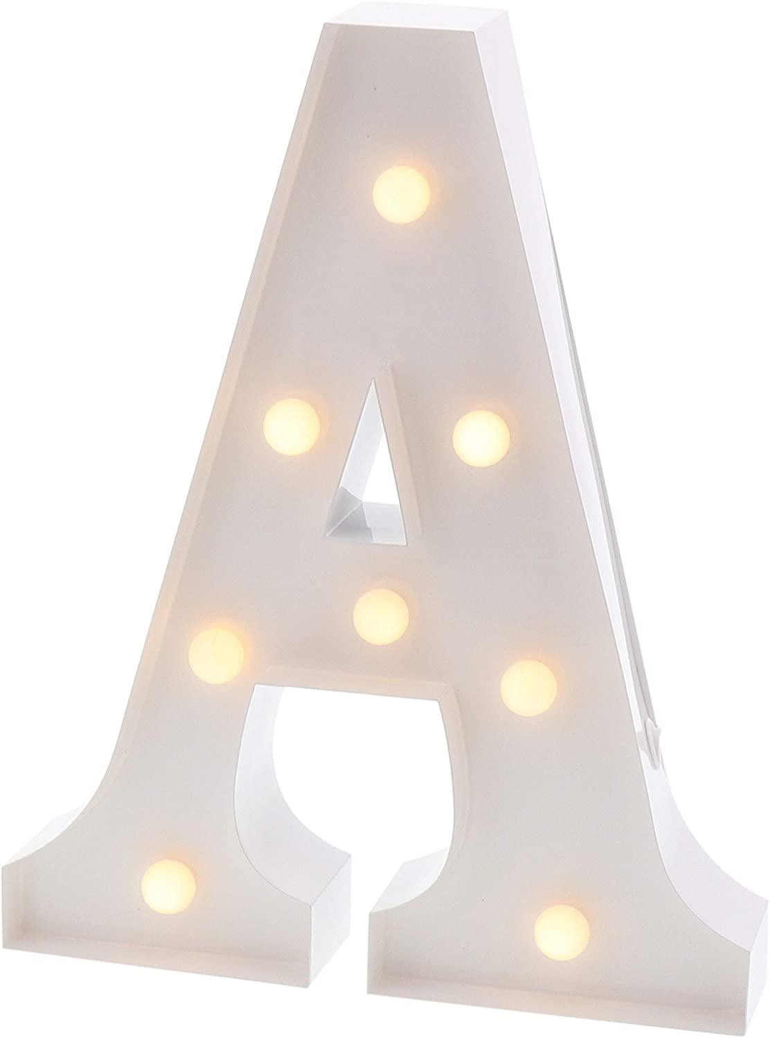 """Barnyard Designs Metal Marquee Letter A Light Up Wall Initial Wedding, Bar, Home and Nursery Letter Decoration 12"""" (White)"""