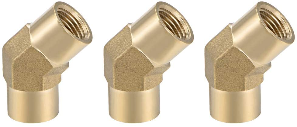 uxcell Brass Pipe Fitting - 45 Degree Elbow G1/4 Female X G1/4 Female Hex Bushing Adapter 36.5mm Length 3pcs