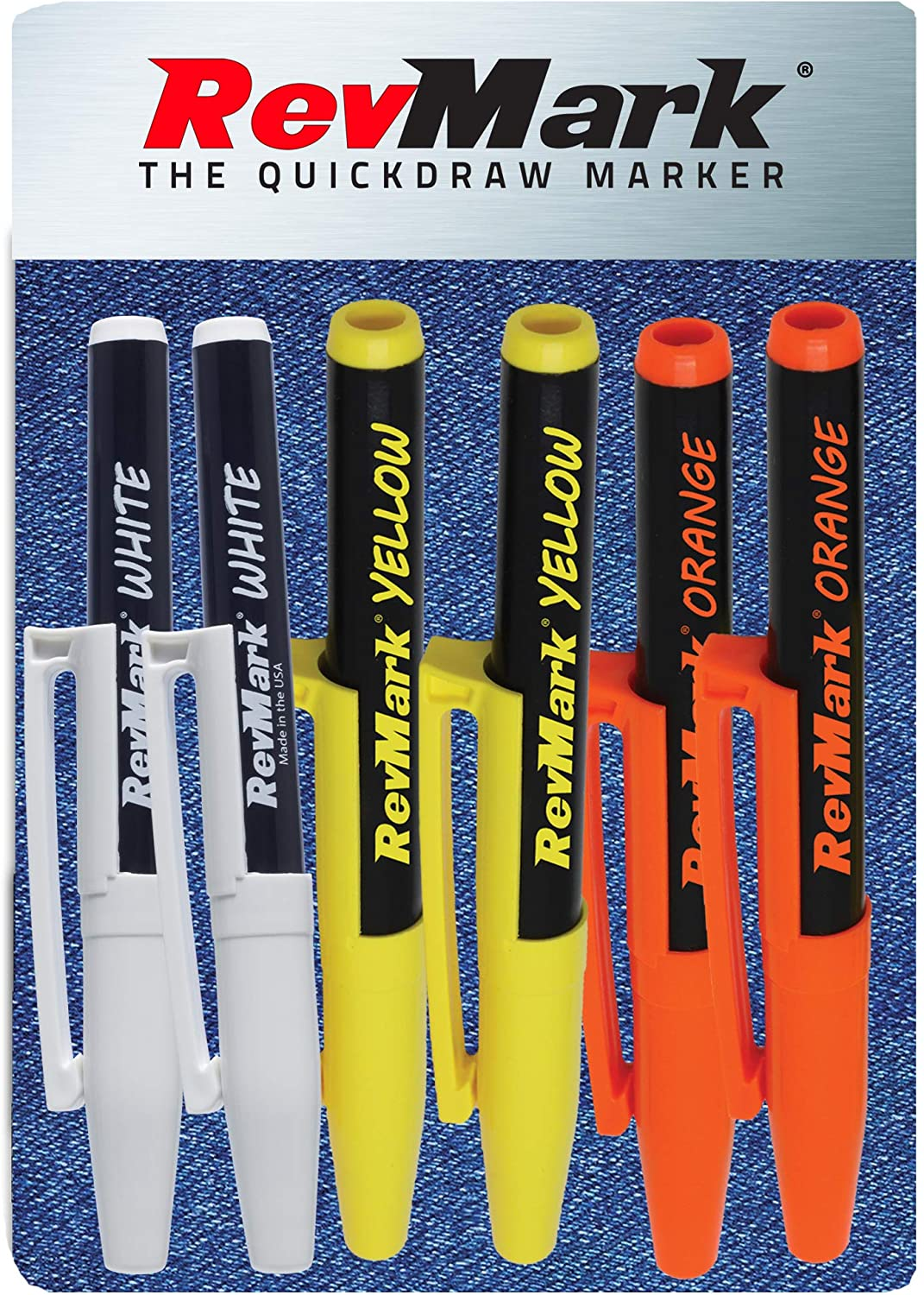 RevMark Bright Series Industrial Marker - 6 Pack - Made in USA - Replaces paint marker for metal, pipe, pvc - ASSORTED