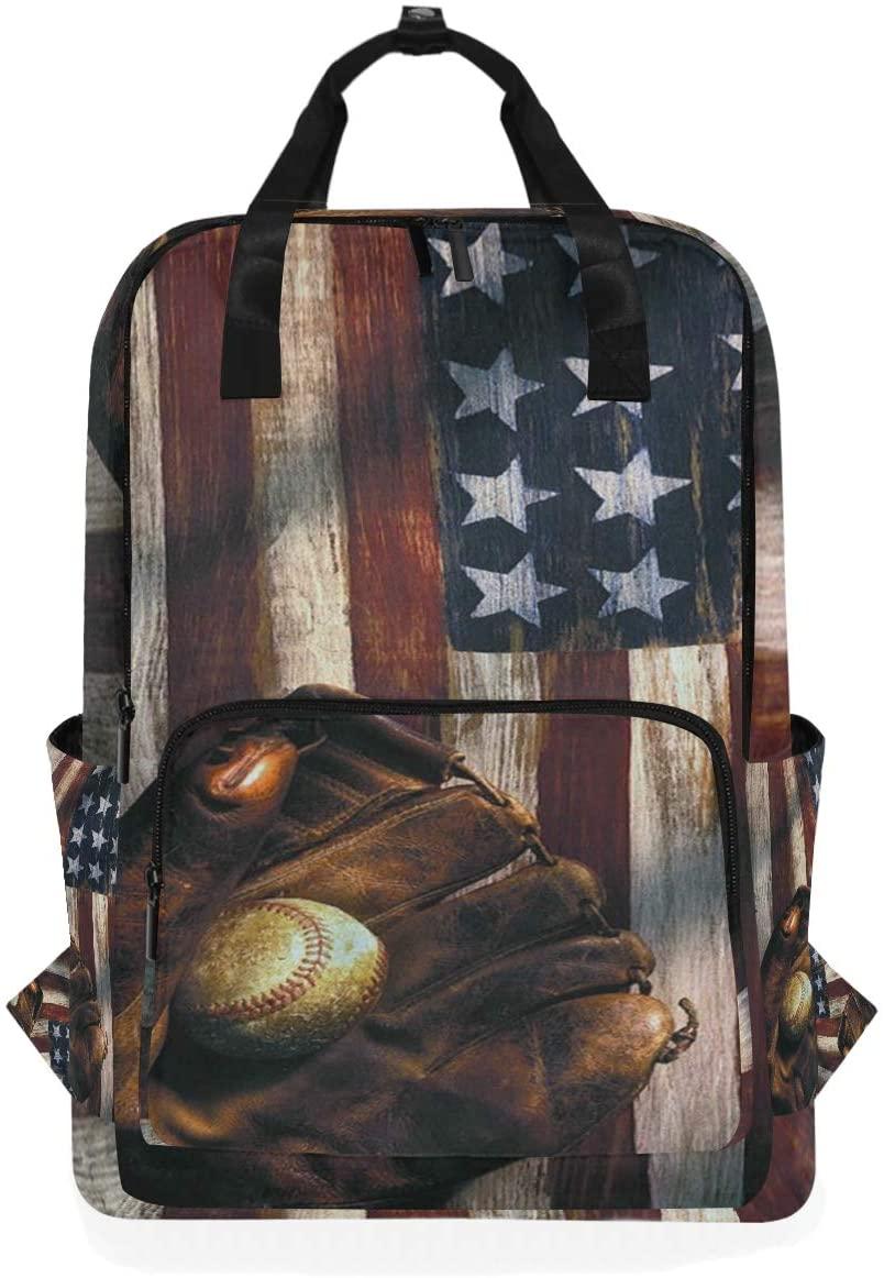 Baseball Dream American Flag Backpack Bookbag for School Boys Girls Laptop Bag Travel Shoulder Bags Women Men
