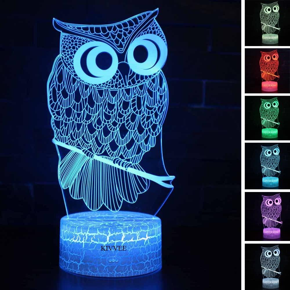 Owl Toys Visual 3D lamp Illusion Night Light Festival Birthday Valentines Day Children Gift Nursery Bedroom Desk Table Decoration for Boys Kids Children Animal Lovers by KIVVEE