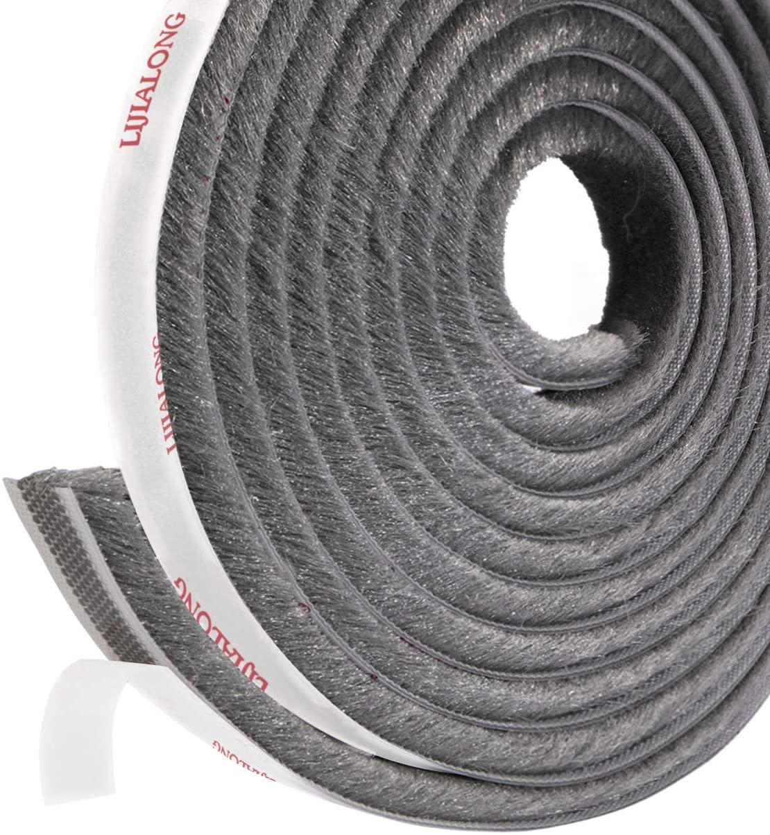 fowong Adhesive Brush Weather Stripping, 11/32 inch x 3/16 inch x 16 Feet, High Density Felt Door Brush Strip for Sliding Sash Door Window Wardrobe Seal (Grey)