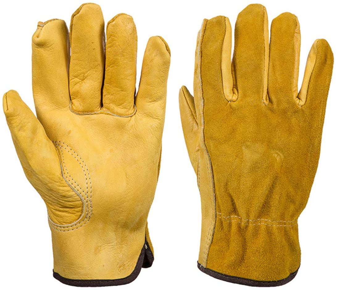 1 Pair Work Gloves Cowhide Leather Working Welding Gloves Rose Pruning Protective Gloves
