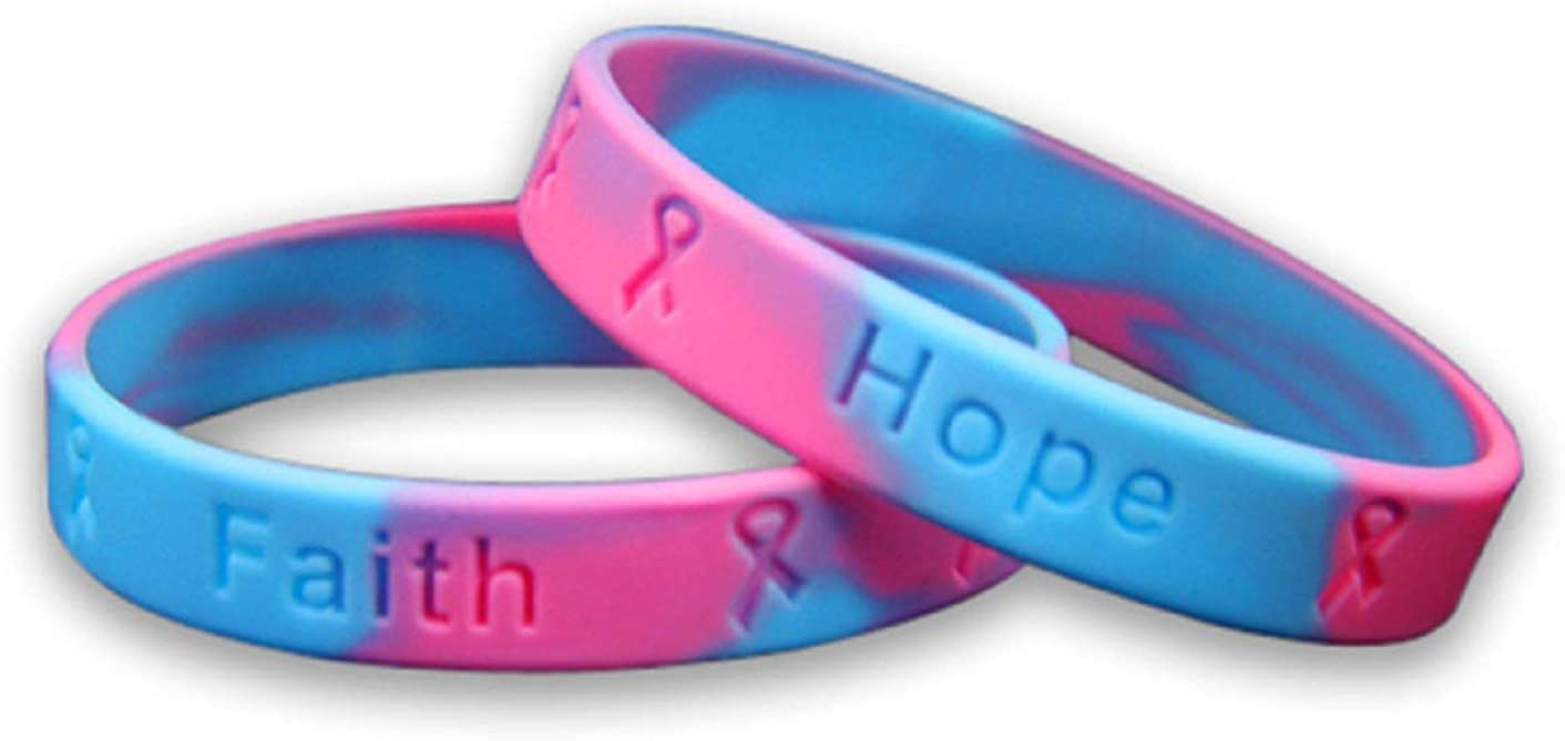Fundraising For A Cause | Birth Defects Awareness Silicone Bracelets – Pink & Blue Silicone Bracelets for Adults