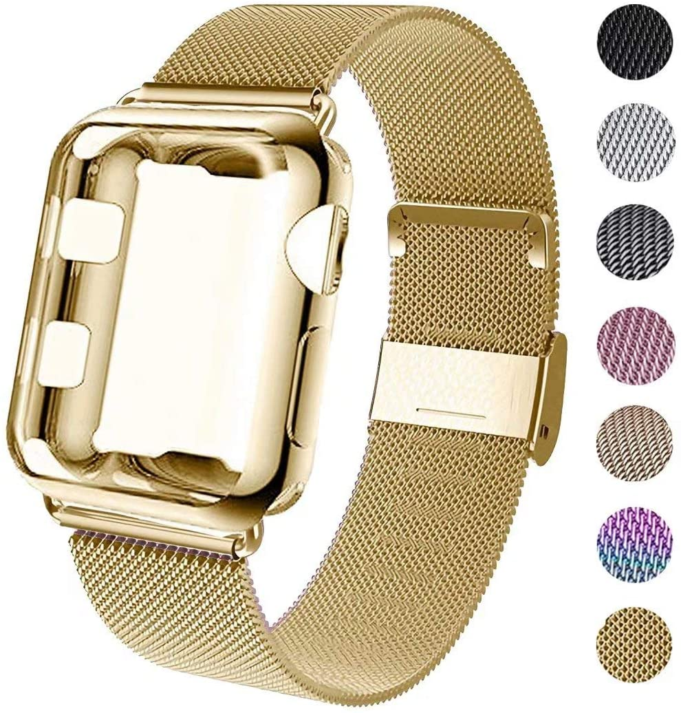 GBPOOT Compatible for Iwatch Watch Band 38mm 40mm 42mm 44mm with Screen Protector Case, Sports Wristband Strap Replacement Band with Protective Case for Iwatch Series 4/3/2/1,40mm,Yellow Gold