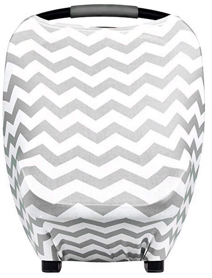 Stretchy Baby Car Seat Nursing Covers for Newborns Grey Chevron, Extreme Stretchy, Soft and Breathable, Multiuse Breastfeeding Cover Ups, Stroller Covers, Infant Carseat Canopy