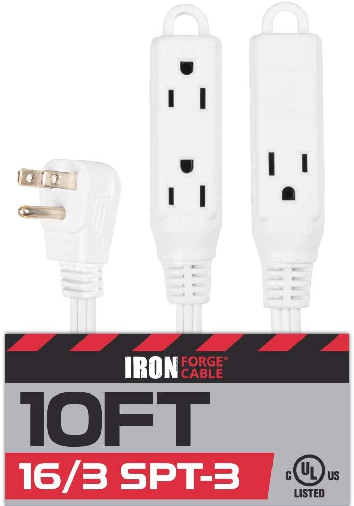 10 Ft Extension Cord with 3 Electrical Power Outlet - 16/3 Durable White Cable