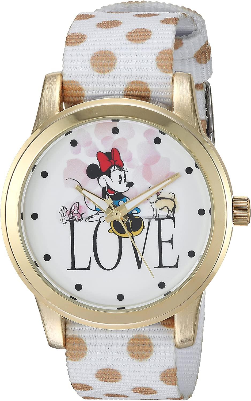 DISNEY Women's Minnie Mouse Analog-Quartz Watch with Nylon Strap, White, 19 (Model: WDS000257)