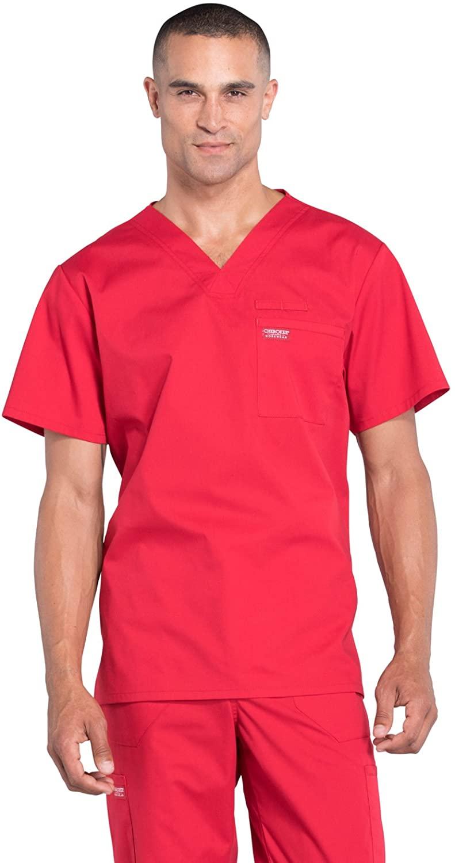 CHEROKEE Workwear WW Professionals Mens Men's V-Neck Top, WW675, 3XL, Red